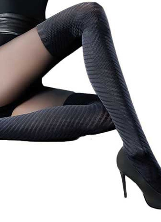 Black Pattern Tights Opaque Mock Over the Knee Socks Keyra by Gabriella